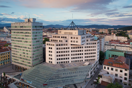Panorama of the Slovenian capital Ljubljana at sunset; Slovenia, Europe. photo