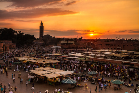 Jamaa el Fna also Jemaa el Fnaa, Djema el Fna or Djemaa el Fnaa is a square and market place in Marrakeshs medina quarter (old city). Marrakesh, Morocco, north Africa.