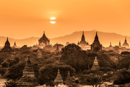 buddhist stupa: Temples of Bagan an ancient city located in the Mandalay Region of Burma, Myanmar, Asia  Stock Photo
