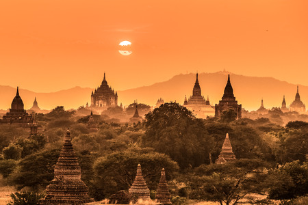Temples of Bagan an ancient city located in the Mandalay Region of Burma, Myanmar, Asia  Stok Fotoğraf