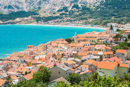 Panoramic view of Baska town, Krk, Croatia, Europe. photo
