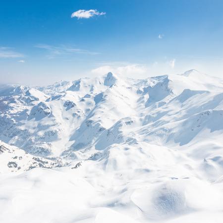 vastness: Ski slopes in  Julian Alps  mountain range, Triglav natural park, Vogel, Bohinj, Slovenia.