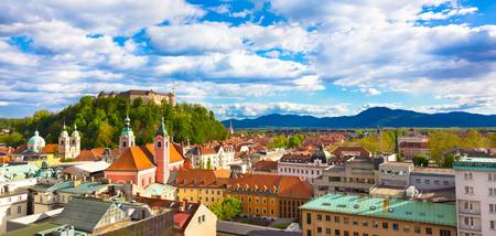slovenian: Panorama of the Slovenian capital Ljubljana at sunset.