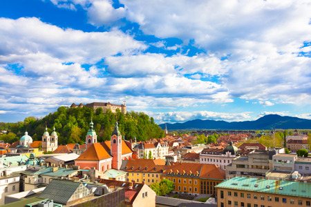 ljubljana: Panorama of the Slovenian capital Ljubljana at sunset.