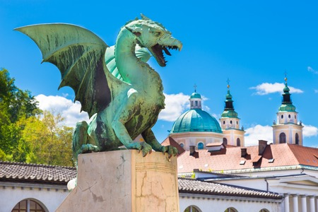 ljubljana: Famous Dragon bridge (Zmajski most), symbol of Ljubljana, capital of Slovenia, Europe.