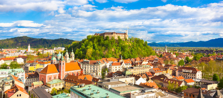 Panorama of the vibrant Slovenian capital Ljubljana in\ afternoon sun