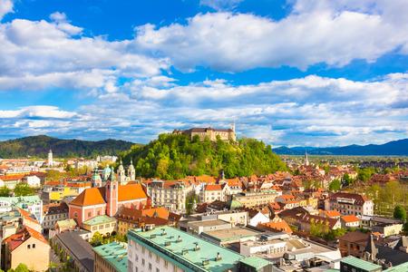 slovenian: Panorama of the vibrant Slovenian capital Ljubljana in afternoon sun