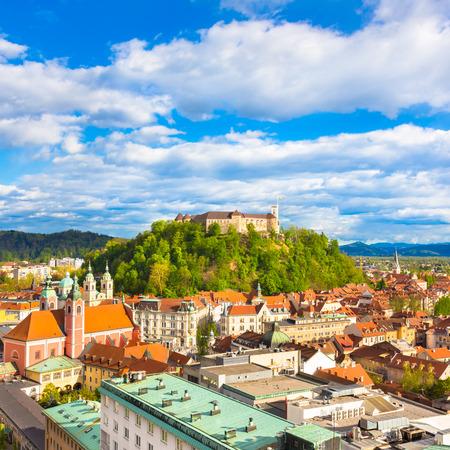 Panorama of the vibrant Slovenian capital Ljubljana in afternoon sun