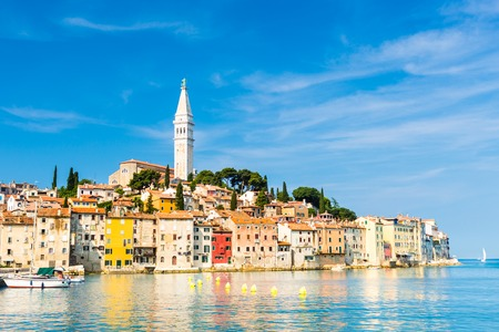 Romantic Rovinj is a town in Croatia situated on the north Adriatic Sea Located on the western coast of the Istrian peninsula, it is a popular tourist resort and an active fishing port. Reklamní fotografie