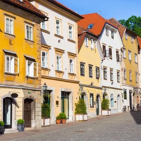 slovenia: Old houses in medieval city center of Ljubljana, Slovenia, Europe. Stock Photo