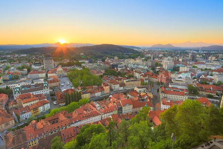 Panorama of the Slovenian capital Ljubljana at sunset. photo
