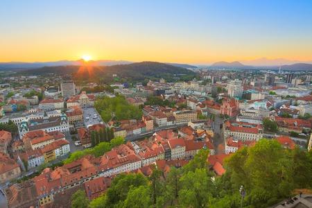 Panorama of the Slovenian capital Ljubljana at sunset. photo
