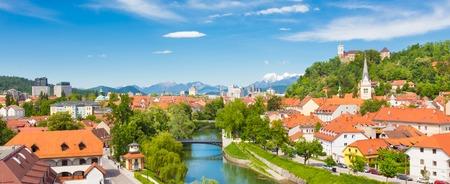 ljubljana: Cityscape of the Slovenian capital Ljubljana at sunset.