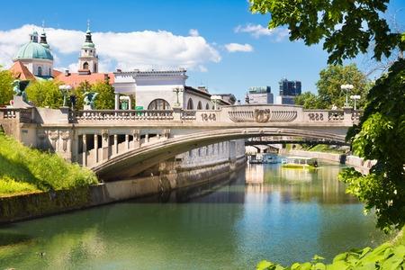 ljubljana: Cityscape of the Slovenian capital Ljubljana. Dragon bridge over Ljubljanica river.