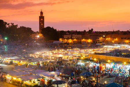 el: Jamaa el Fna also Jemaa el Fnaa or Djema el Fna or Djemaa el Fnaa is square and market place in Marrakeshs medina quarter. Marrakesh in Morocco, north Africa. UNESCO Heritage of Humanity.
