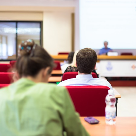 specialization: Students of advanced career education training listening to the lecture.