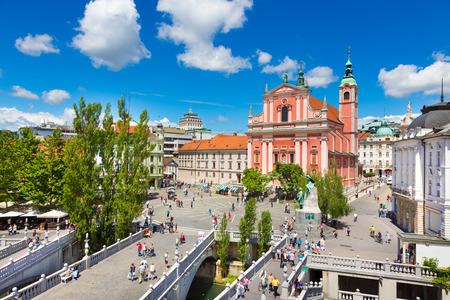annunciation: Romantic Ljubljana city center  river Ljubljanica, Triple Bridge  Tromostovje , Preseren square and Franciscan Church of the Annunciation; Ljubljana, Slovenia, Europe