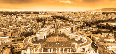 st peter s square: Rome, Italy  Famous Saint Peter s Square in Vatican and aerial view of the city from Papal Basilica of St  Peters dome  Stock Photo
