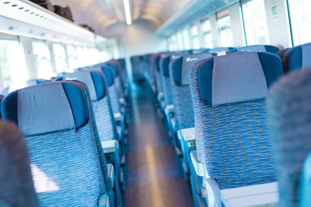 compartment: Modern european economy class fast train interior  Inside of high speed train compartment