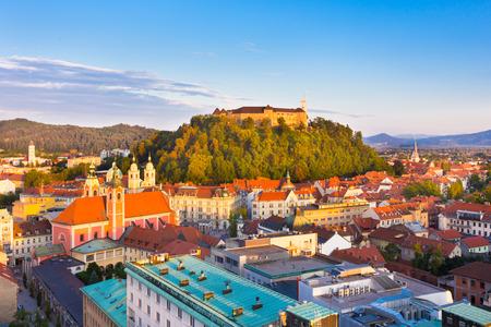 slovenian: Panorama of the Slovenian capital Ljubljana at sunset