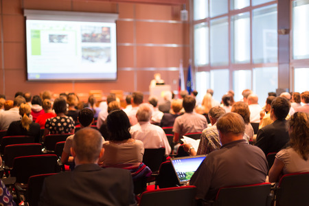 conference: Business Conference and Presentation with Audience at the conference hall