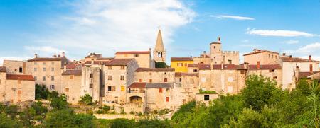 church window: Panorama of Bale village in Istrian peninsula, Croatia  Stock Photo