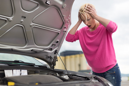 broken car: Stressed Young Woman with Car Defect  Engine breakdown