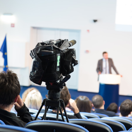 Business Conference and Presentation  Audience at the conference hall  Television broadcasted press conference  Banque d'images
