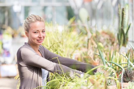 Cheerful florists woman working with topical plants and cacti in a greenhouse.  photo