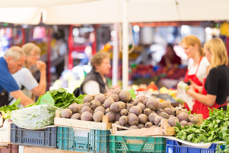 Farmers market stall with variety of organic vegetable. photo