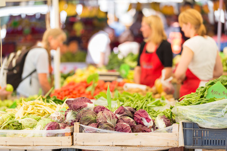 Farmers\' market stall with variety of organic vegetable.