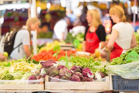 다양한 유기농 채소가있는 농민 시장 마구간. 스톡 콘텐츠