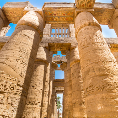 obelisk stone: Ancient Egyptian Temple of Karnak (ancient Thebes). Luxor, Egypt.