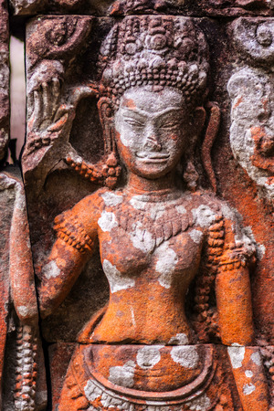 architectural heritage of the world: Detail of the ancient stone sculpture in Angkor Wat. Cambodia.