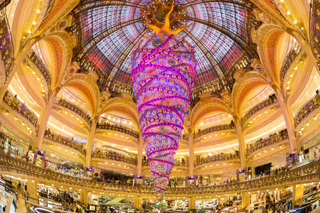 Paris, France - December 1, 2014: Swarovski christmas tree at the famous Galeries Lafayette department store on the Boulevard Haussmann on December 1th, 2014.