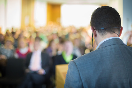training workshop: Speaker at Business Conference and Presentation. Audience at the conference hall. Business and Entrepreneurship. Stock Photo