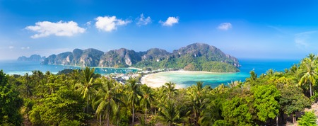 Panoramic view of lush green picture perfect tropical island, Phi-Phi Don, Thailand.