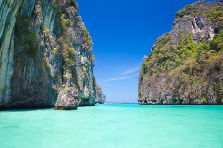 phi phi: Picture perfect tropical Maya bay on Koh Phi Phi Le Island, Thailand, Asia.