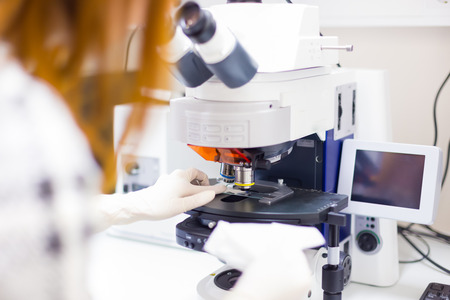 medio ambiente: Mujer microscoping científico en hi-tec microscopio de fluorescencia. . Profesional en hes entorno de trabajo de atención médica.