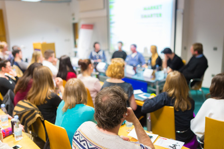round table: Round table discussion at business and entrepreneurship workshop. Stock Photo