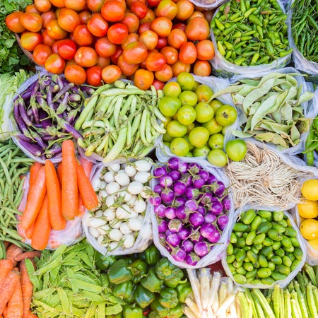 Farmers market with various domestic colorful fresh fruits and vegetable. Tasty colorful mix. Square composition. Stock Photo