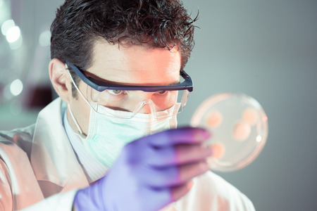 antifaz: Investigador de ciencias de la vida Lab capa, m�scara y gafas de protecci�n observar c�lulas potencialmente infecciosas en placa de Petri. Centrarse en el ojo del cient�fico. Salud y concepto de la biotecnolog�a.