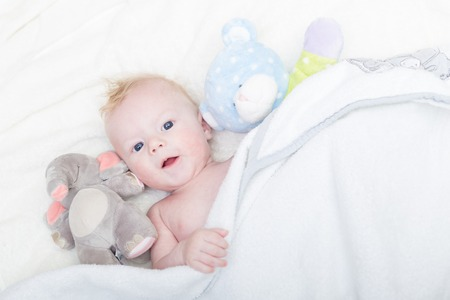 baby blue: Cute blonde little baby boy with blue eyes with his favorite plush teddy bear and elephant.