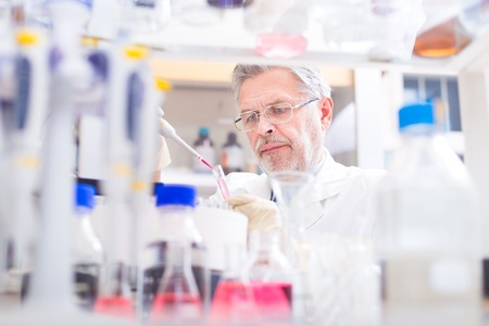 laboratory research: Life scientist researching in laboratory. Life sciences study living organisms on the level of microorganisms, viruses, human, animal and plant cells, genes, DNA...
