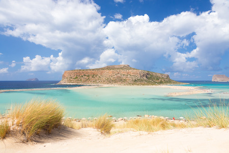 beach panorama: Breathtaking panorama of Balos beach and lagoon and Gramvousa island on Crete, Greece. Cap tigani in the center.
