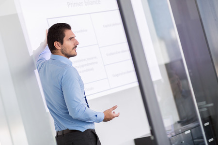 Business man making a presentation in front of whiteboard. Business executive delivering a presentation to his colleagues during meeting or in-house business training. Zdjęcie Seryjne