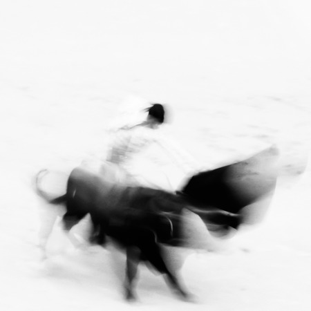 corrida de toros: Bullfigting en la plaza de toros de Las Ventas, Madrid, España. Resumen negro y blanco.