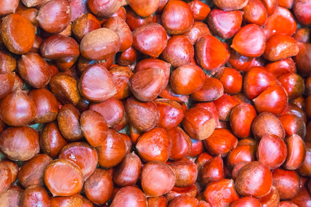 horse chestnut seed: Pile of chestnuts. Autumn background. Stock Photo