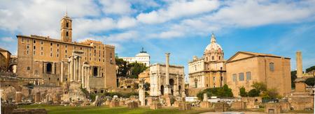 severus: Roman ruins in Rome, Forum. Panoramic composition.