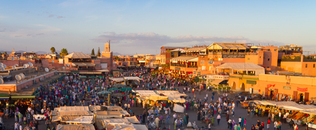 Jamaa el Fna also Jemaa el Fnaa, Djema el Fna or Djemaa el Fnaa is a square and market place in Marrakesh's medina quarter. Marrakesh, Morocco, north Africa.